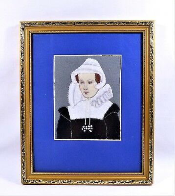 Felt Collage Mary Queen Of Scots Set In A Frame Handmade Needlework Vintage
