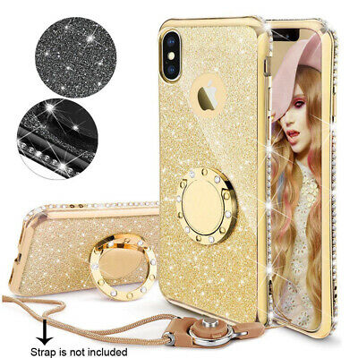 Bling Sparkle Slim TPU Ring Stand Case Cover For iPhone XR Xs Max 6 7 8 Plus