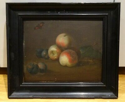 17th Century Dutch Old Master Still Life Peach Plums Butterfly Antique Painting