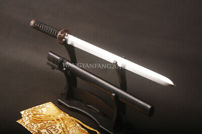 Japanese Straight Sword Carbon Steel Blade Flying Dragon Mountings Double Edged