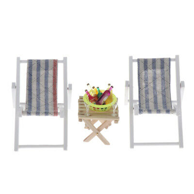 1:6 Dollhouse Miniature Table Striped Chairs with Wine Beach Set Outdoor A