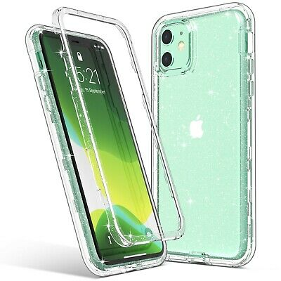 for Apple iPhone 11 Clear Glitter Protective Heavy Duty Shockproof Case PC Cover