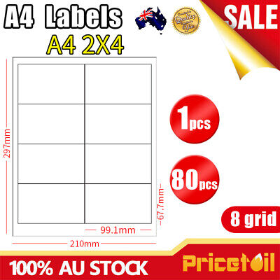A4 Labels 4X2 8grid office  White Self Adhesive Mailing Address Laser Inkjet