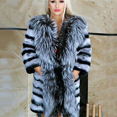 Women's Chinchilla Real Rex Rabbit Fur Coat Top Quality  Warm Overcoat Outerwear