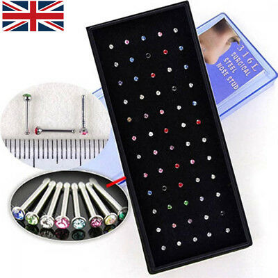 60x Surgical steel Nose Studs Mix Colourful Crystal Body Jewellery Claw Set Box