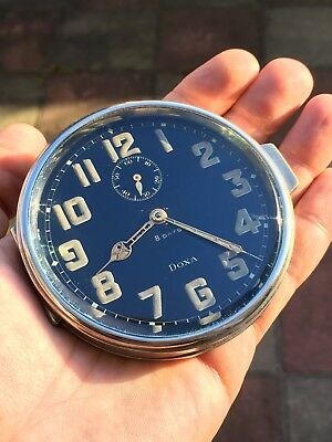 Stunning 1930s Vintage Doxa Dashboard (???) Clock 8 Days Heavy Swiss Made