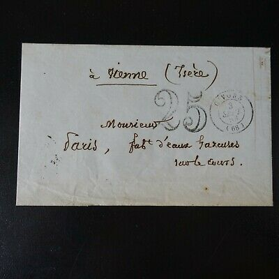 1853 France Lettre Cover Cad T.15 Givors (68) Taxe 25 -> Vienne Isère