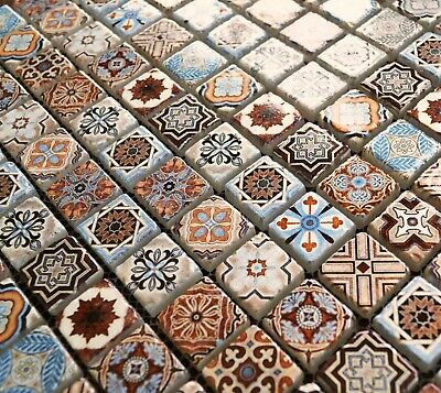 Vintage Victorian African Feature Pattern Blue & Gold Glass Tile Mosaic SAMPLES