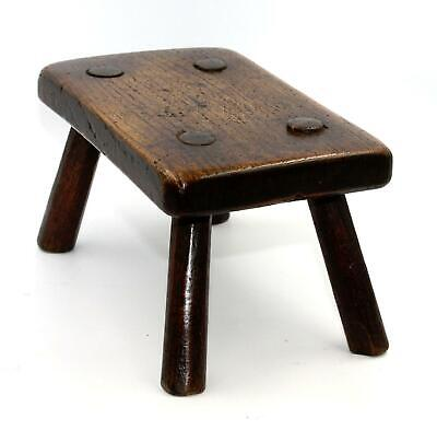 Small 18th Century Primitive Oak, Stick Stool, Beautiful Patina