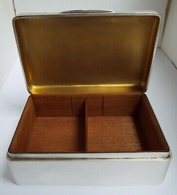 Superb Large Heavy English Antique 1906 Sterling Silver Cigarette Box Solid Lid