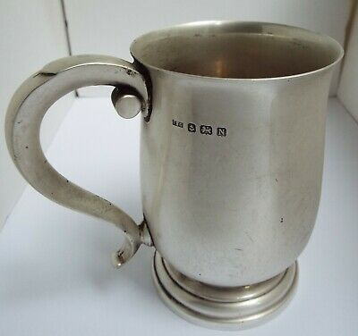 SUPERB CLEAN HEAVY 365g ENGLISH ANTIQUE 1937 SOLID STERLING SILVER PINT TANKARD