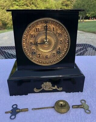 1910's Antique Ansonia Metal Mantel Shelf Clock Working Correctly