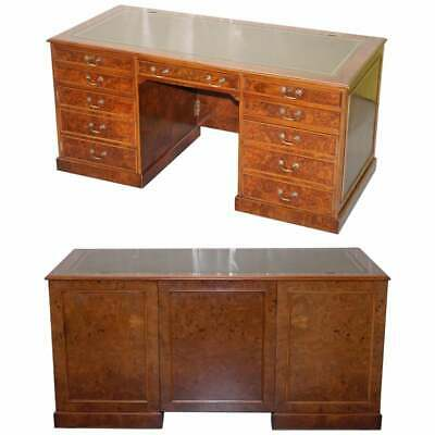 Rare Designed To House Computer Panelled Burr Walnut Green Leather Partner Desk