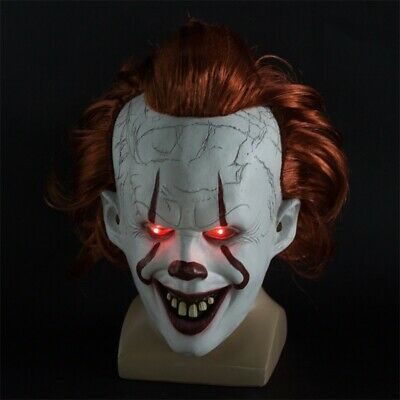 It Chapter Two Scary Clown Pennywise LED Lights Mask Cosplay Halloween Props US