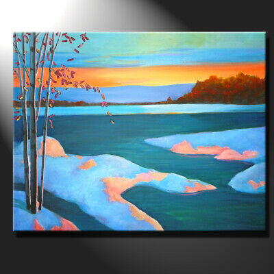 Original Painting Canvas Sunset River Landscape Light Contemporary Art GeeBeeArt