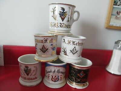 6 Antique  OCCUPATIONAL SHAVING MUGS  -  MISC   LODGE  MEMBERS   #51