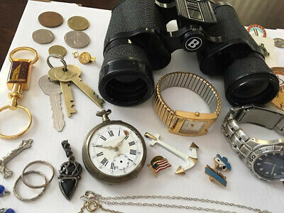 Junk Drawer Lot vintage- .925 Sterling Silver, Copper, Binoculars, Watches...