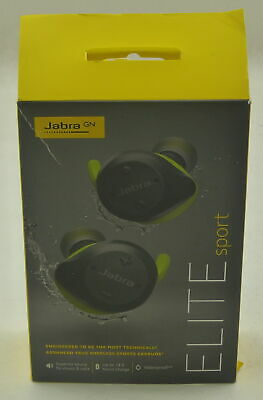 Jabra Elite Sport True Wireless Lime Green Gray Sports Fitness Earbuds