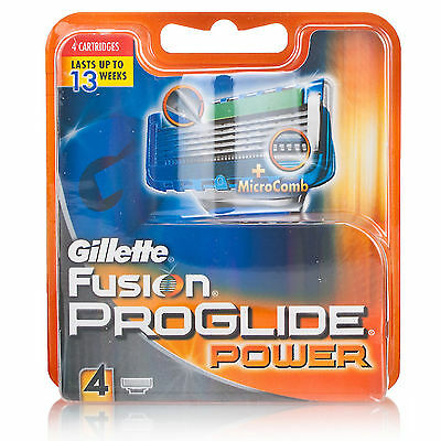 Gillette Fusion Proglide Power Razor Blades 4- Genuine no Fakes