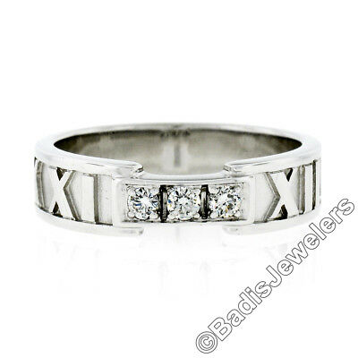 Authentic Tiffany & Co. 18k White Gold Diamond Atlas Eternity Wedding Band Ring