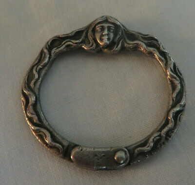 Antique Victorian Sterling Silver Woman W/ Long Flowing Hair Design Key Ring