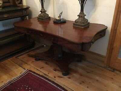 Unusual Early 19th Century Mahogany Libary Table With Brass Inlay