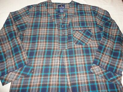 Stafford Flannel Night Shirt Turquoise / Brown Plaid - Men's Size Small