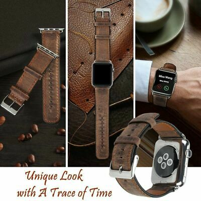 44mm Genuine Leather Replacement Watch Band Strap For Apple Watch Series 5 Brown
