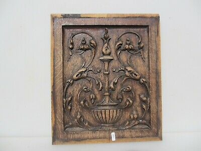 Victorian Carved Wooden Panel Plaque Old Antique Wood Rococo Leaf Urn Nouveau