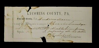 "Authentic 1862 ""Quack Doctor'' Military Medical Exemption Form"
