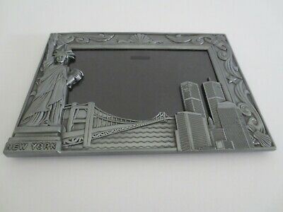 New York Twin Towers, Statue of Liberty, Brookiyn Bridge. Pewter picture Frame.