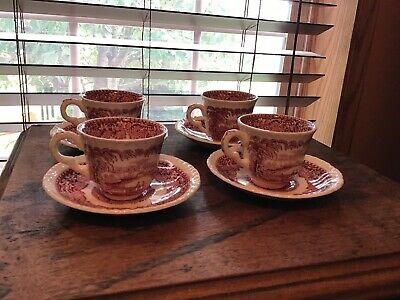 4 Vintage Masons Pink Red Vista Demitasse Cups And Saucers