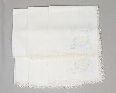 Six table napkins, Large, White cotton, Cut work, Embroidery, bobbin lace edge