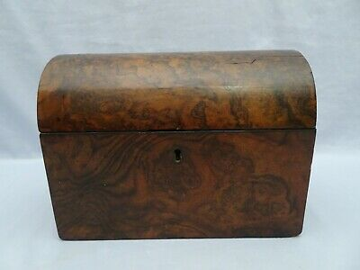 Antique 19th Century Burled Walnut Domed Tea Caddy Needs Some Repair