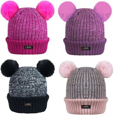 Kids Girls Thermal Insulated Double Pom Poms Beanie Fleece Lined Hat Fur Twin