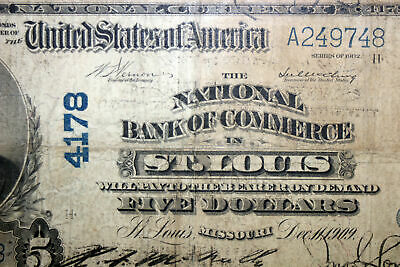 1902 $5.00 The National Bank of Commerce St. Louis Missouri Very Good (A249748)