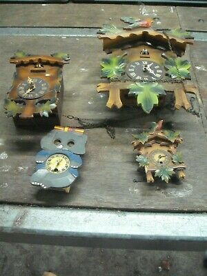 Vintage Small Cuckoo Clocks Spares Or Repair