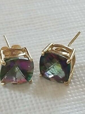 14k Solid Gold 8mm 4-Carat Cushion Cut Mystic Topaz-  Solitaire Stud Earrings