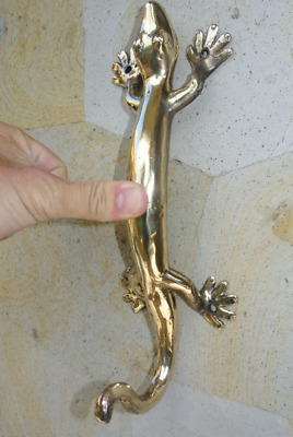 "Large HOOK tail GECKO solid brass door antique old style house PULL handle 11"" B"