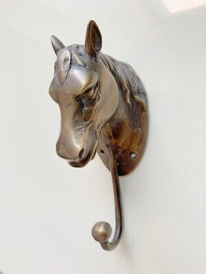 """large horse HOOK solid hollow 100% brass aged vintage old style 7"""" hook aged  B"""