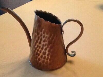 Vintage Hand Hammered Solid Copper Watering Can Curved Spout
