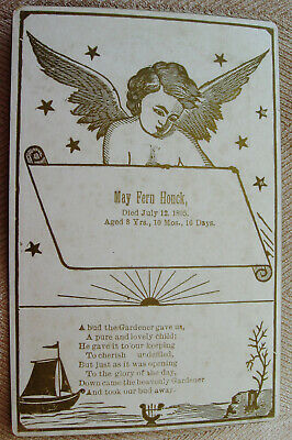 ANTIQUE DEATH MEMORIAL CABINET CARD w/ BEAUTIFUL ANGEL & POEM FOR 8 YR, OLD GIRL