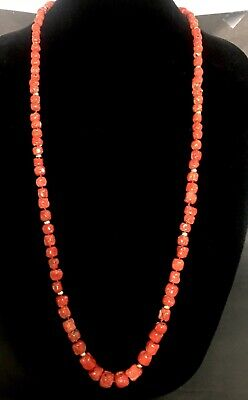 """Vintage Long 37"""" Natural Red Coral Graduated Bead Necklace"""