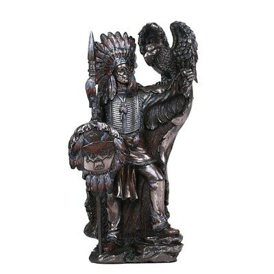 "8.75"" Native American Indian with Eagle Statue Warrior Sculpture"