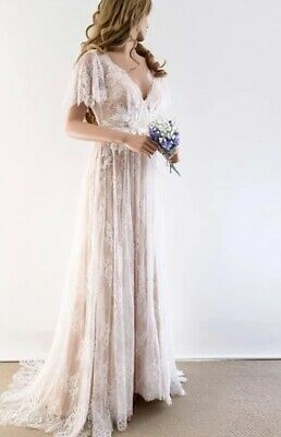 Wedding Gown Dress One Of A Kind Lace Ivory Champagne White Boho Beach Backless