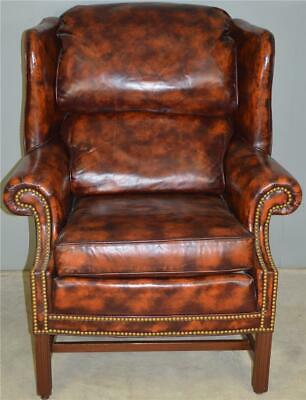 17848 Leather Chippendale Wingback Chair by North Hickory