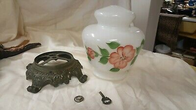 VINTAGE GWTW HURRICANE PARLOR  FLORAL LAMP parts, metal base, glass globe & more
