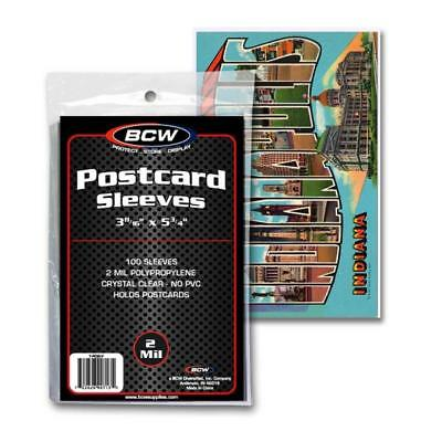Pack of 100 BCW Acid Free Archival 2 mil Postcard Poly Sleeves  3 11/16 x 5 3/4