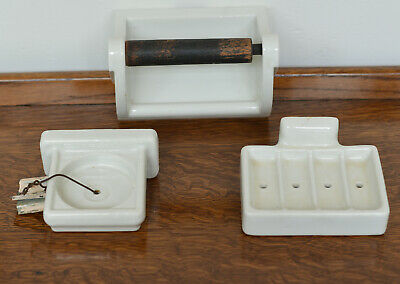 Vintage Porcelain Bathroom Fixtures, Toilet Paper Holder, Cup Holder and Soap Di