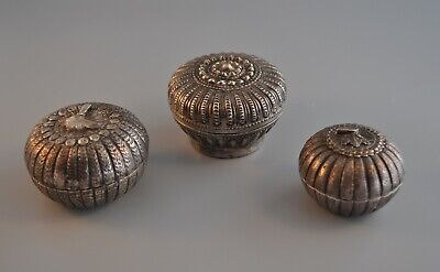 3 Antique Thai Southeast Asia Ornate Silver Repoussed Box Containers Mangosteen